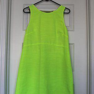 J Crew Neon Yellow Dress with Peekaboo Back